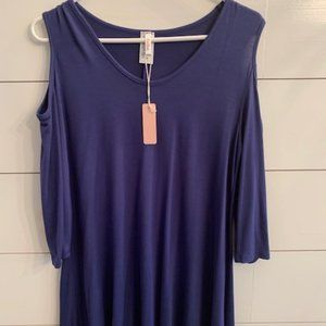 NWT Maternity Cold Shoulder Navy Top